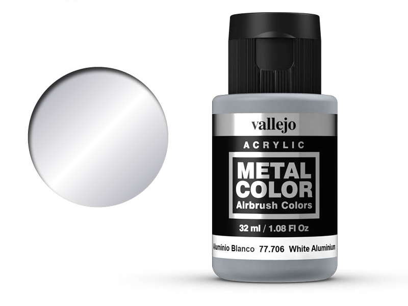Farbe Vallejo Metal Color 77706 White Aluminium 32ml Airbrush