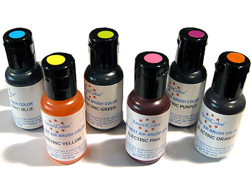 6 Airbrush LEBENSMITTELFARBEN-Set Electric Ultra Bright AmeriColor AmeriMist (6x19ml)