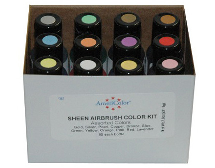 12 Airbrush LEBENSMITTELFARBEN Set - AmeriColor AmeriMist Pearlescent (12x19ml)