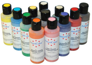 12 Airbrush LEBENSMITTELFARBEN Set - AmeriColor AmeriMist Pearlescent (12x133ml)