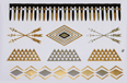Gold Silver Black | Jewelry Flash Tattoo stickers W-090, 21x15cm