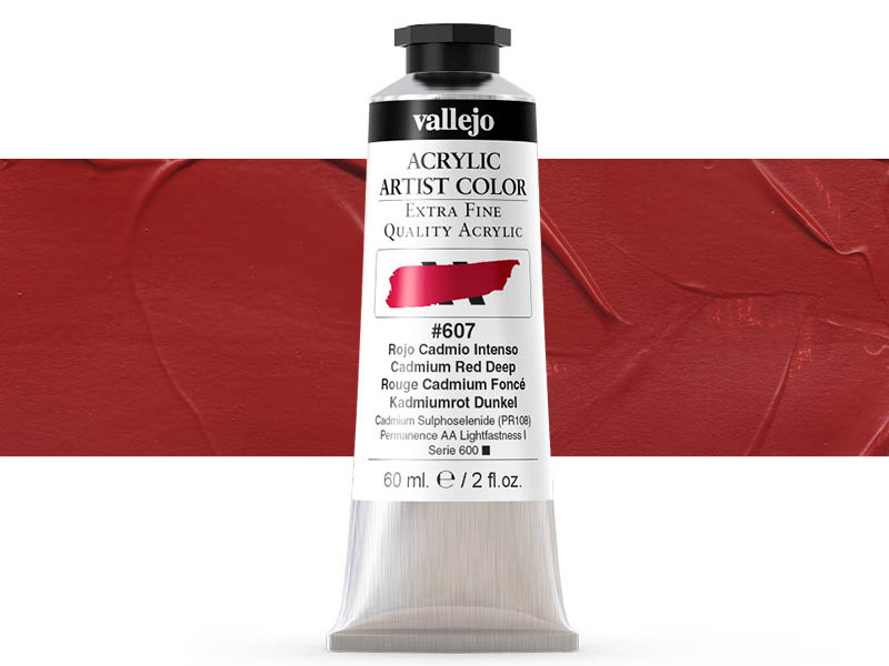 Farbe Vallejo Acrylic Artist Color 16607 Cadmium Red Deep (60ml)