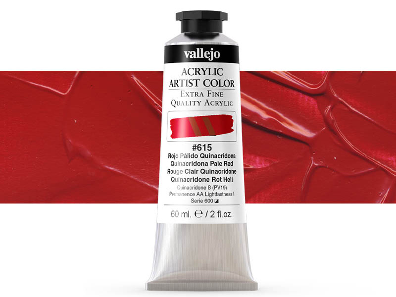Farbe Vallejo Acrylic Artist Color 16615 Quinacridone Pale Red (60ml)