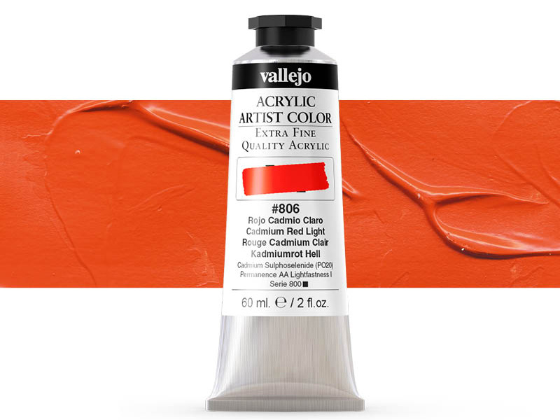 Farbe Vallejo Acrylic Artist Color 16806 Cadmium Red Light (60ml)