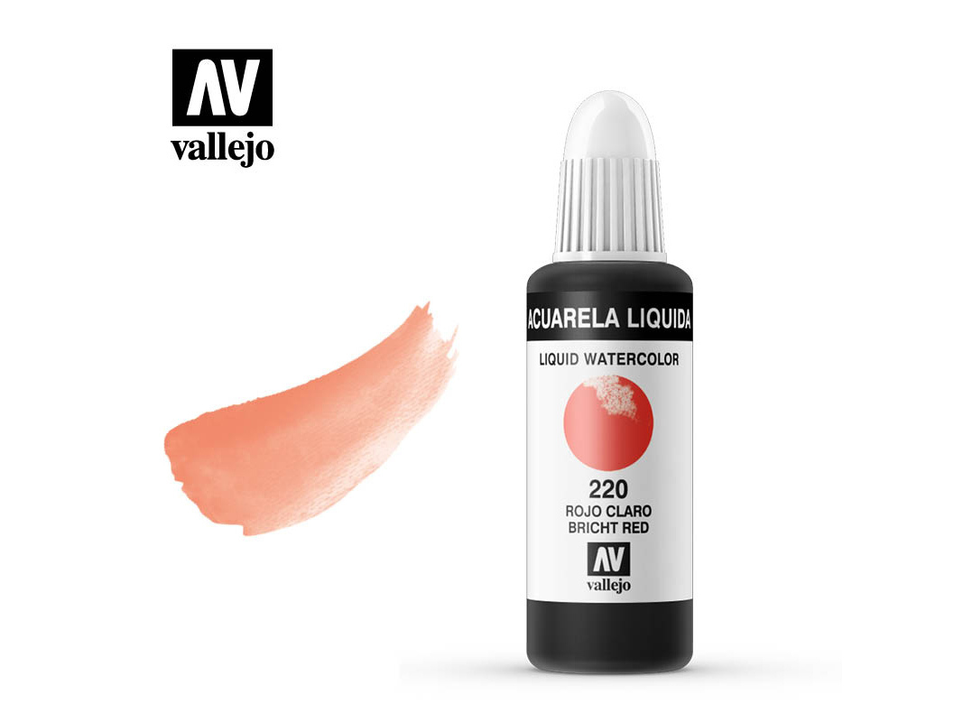 Farbe Vallejo Liquid Watercolor 33220 Light Red (32ml)