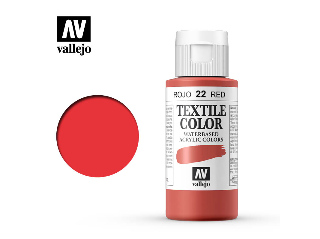 Textilfarbe Vallejo Textile Color 40022 Red (Opaque) (60ml)