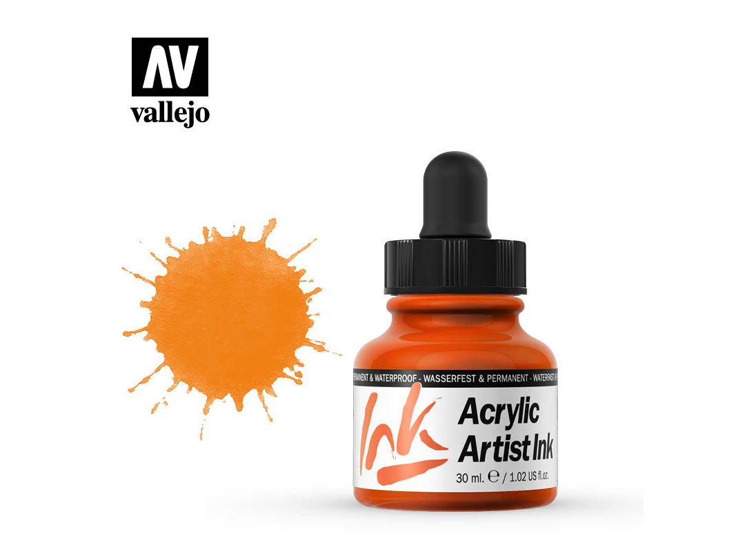 Tinte Vallejo Acrylic Artist Ink 60003 Orange (30ml)