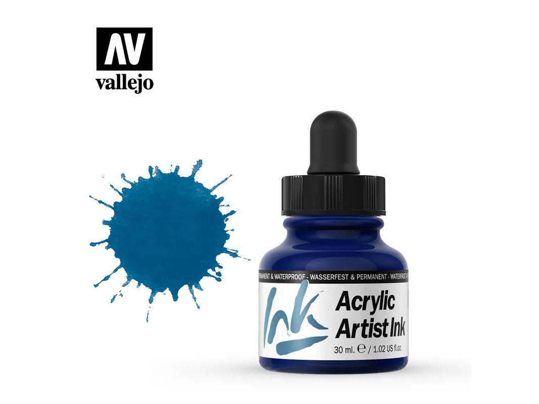 Tinte Vallejo Acrylic Artist Ink 60008 Prussian Blue (30ml)