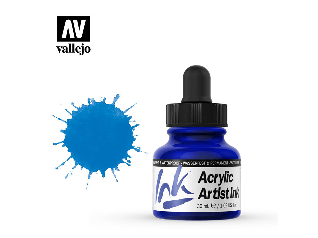 Tinte Vallejo Acrylic Artist Ink 60009 Process Cyan (30ml)
