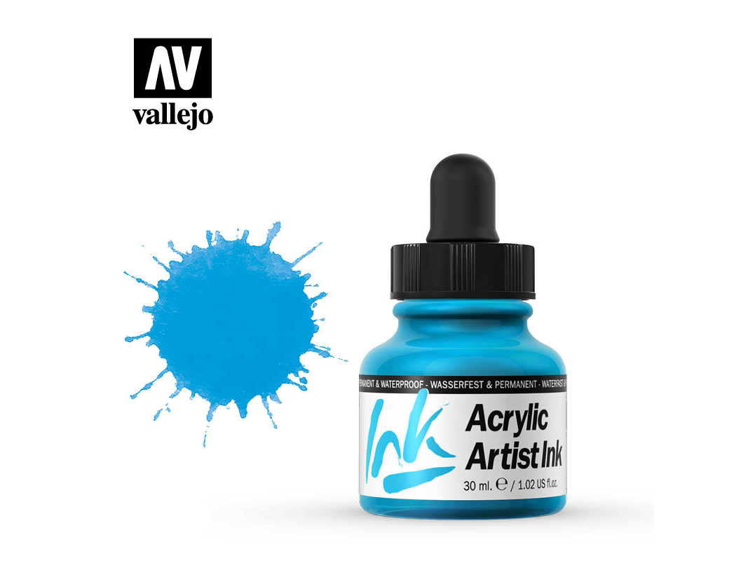 Tinte Vallejo Acrylic Artist Ink 60010 Light Blue (30ml)