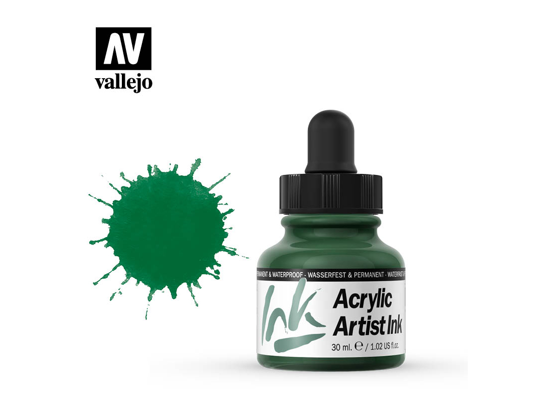 Tinte Vallejo Acrylic Artist Ink 60013 Dark Green (30ml)