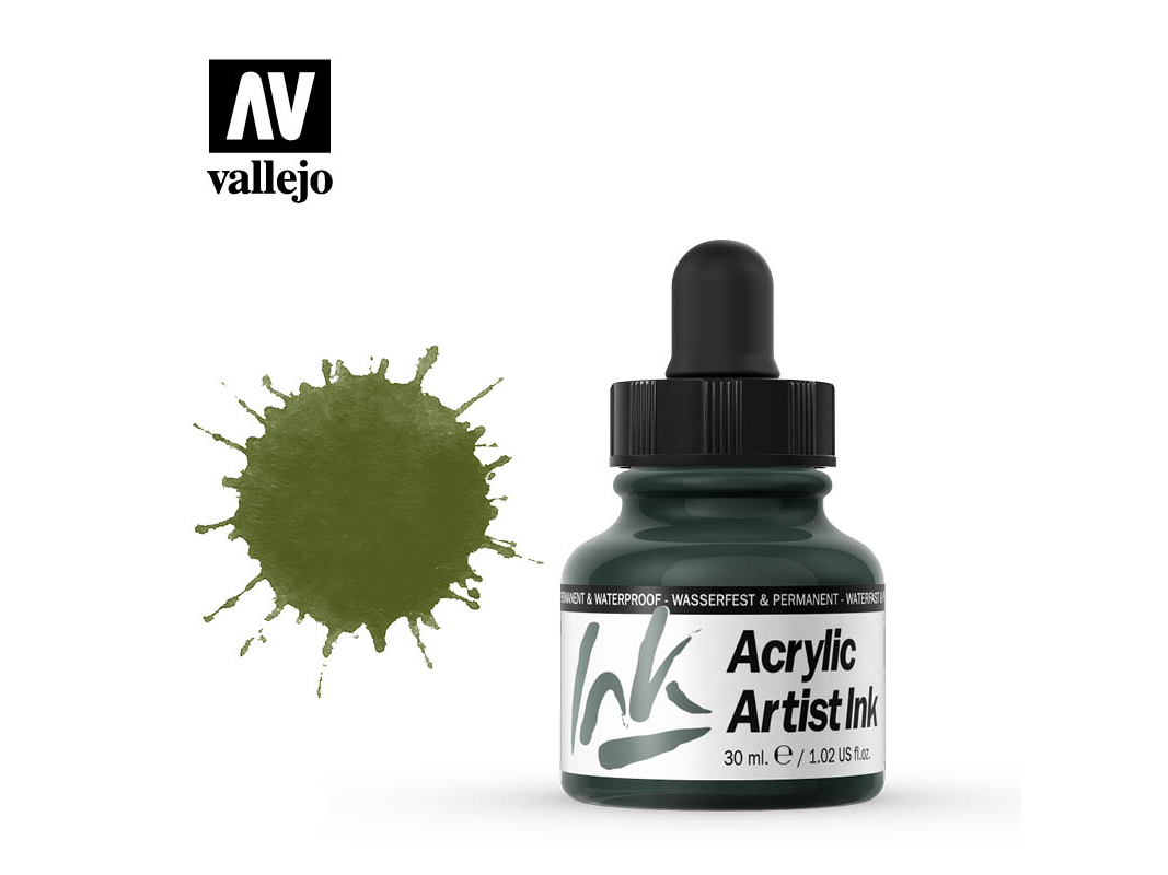 Tinte Vallejo Acrylic Artist Ink 60014 Olive Green (30ml)