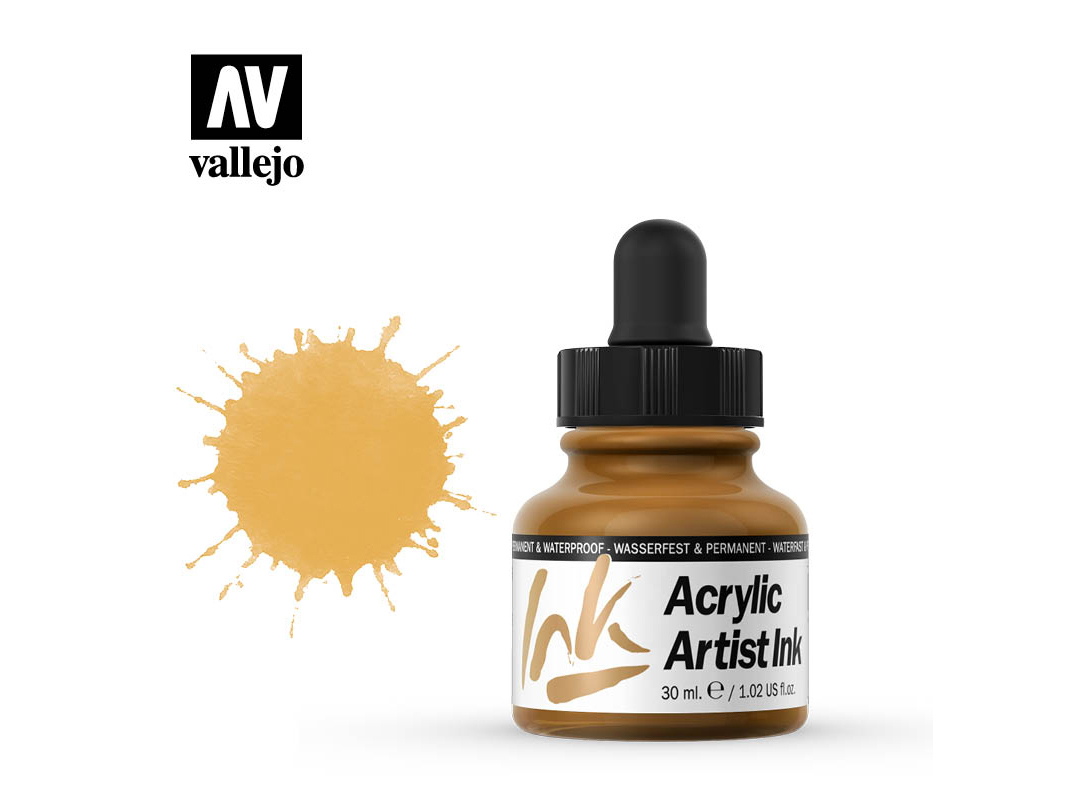 Tinte Vallejo Acrylic Artist Ink 60015 Indian Yellow (30ml)