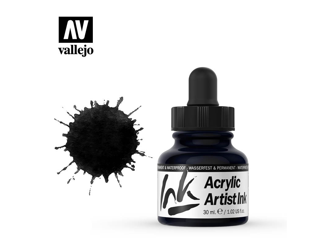 Tinte Vallejo Acrylic Artist Ink 60019 Black (30ml)