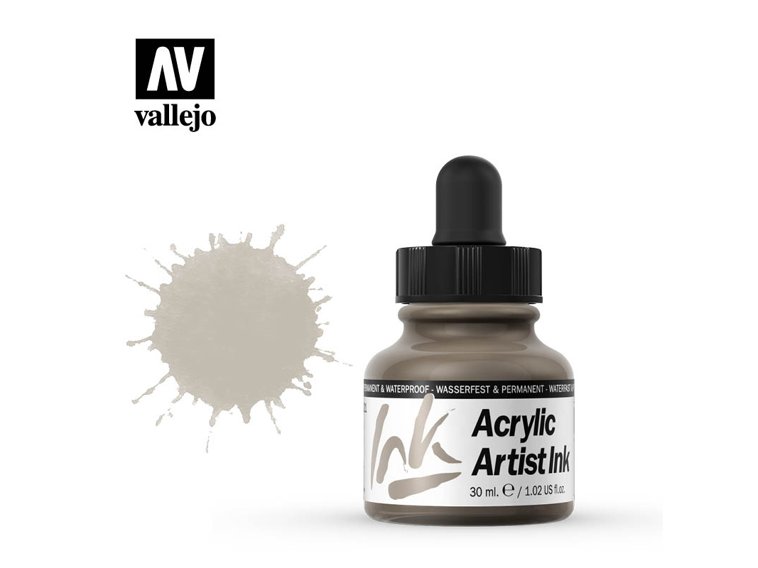 Tinte Vallejo Acrylic Artist Ink 60021 Metallics Old Silver (30ml)