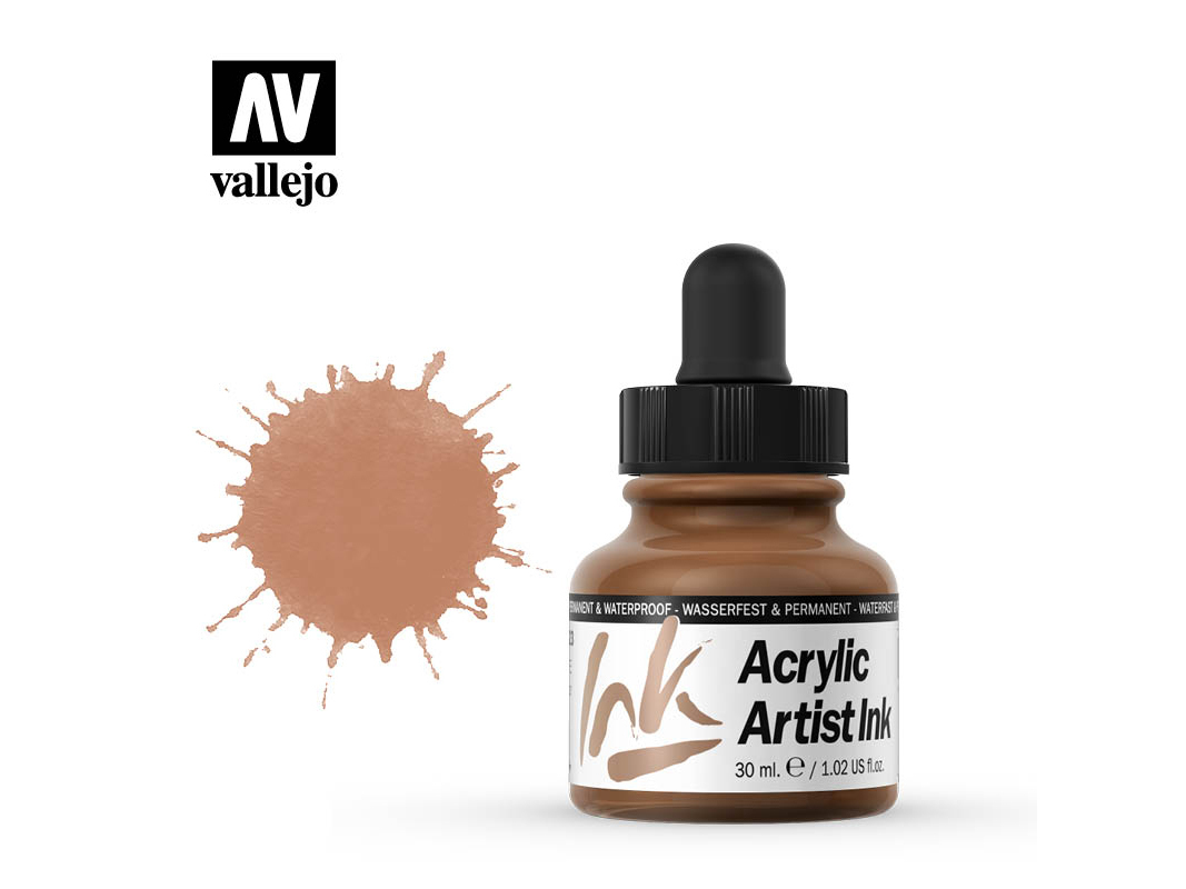 Tinte Vallejo Acrylic Artist Ink 60023 Metallics Copper (30ml)