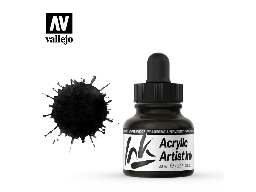 Tinte Vallejo Acrylic Artist Ink 60024 Metallics Black Pearl (30ml)
