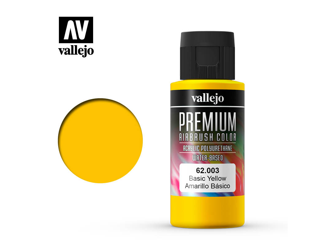 Farbe Vallejo PREMIUM Color 62003 Basic Yellow (60ml)