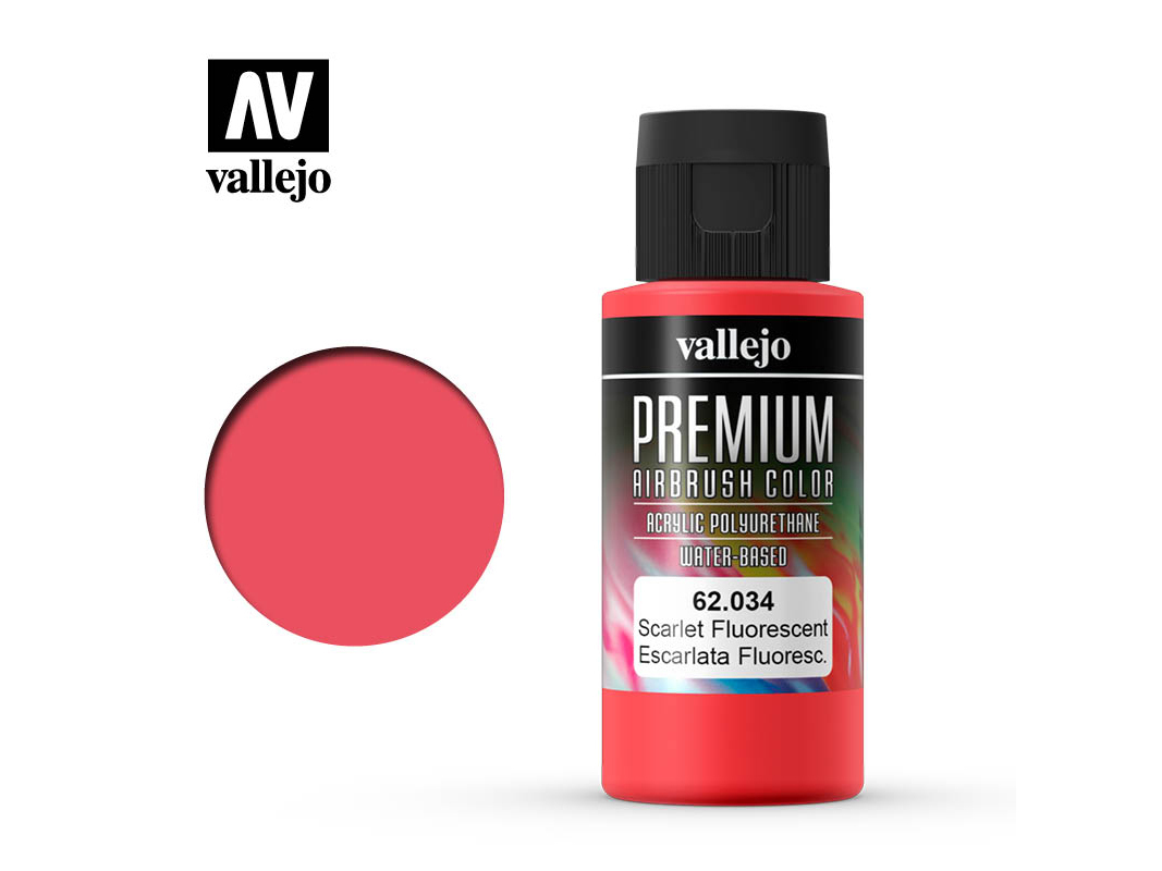Farbe Vallejo PREMIUM Color 62034 Fluorescent Scarlet (60ml)