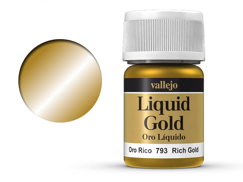 Farbe Vallejo Liquid Gold 70793 Rich Gold (Alcohol Based) (35ml)