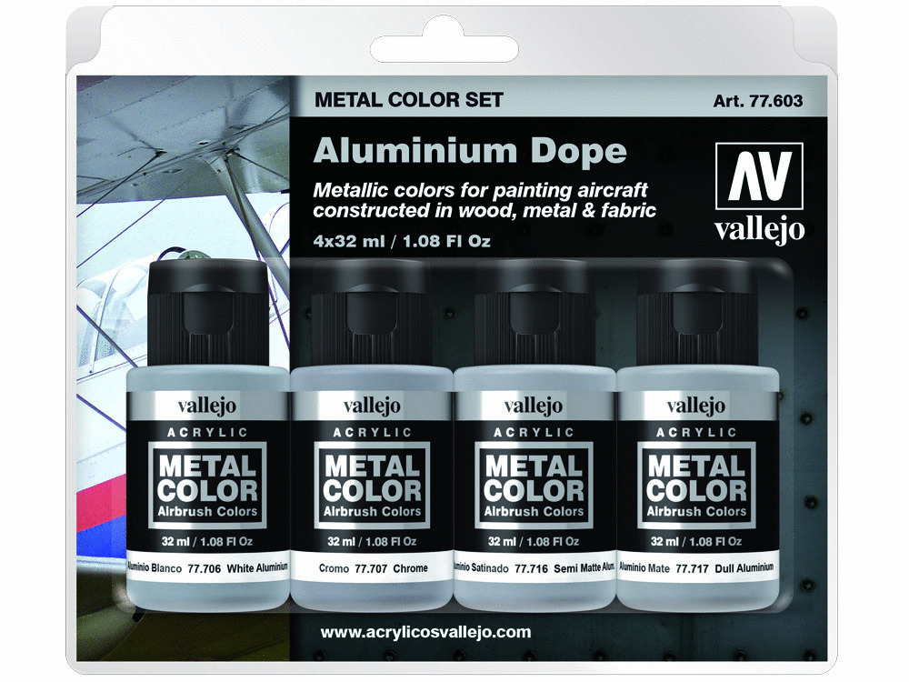 Vallejo Metal Color Set 77603 Aluminium Dope (4x32ml)