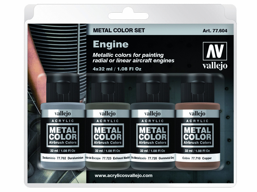 Vallejo Metal Color Set 77604 Engine (4x32ml)