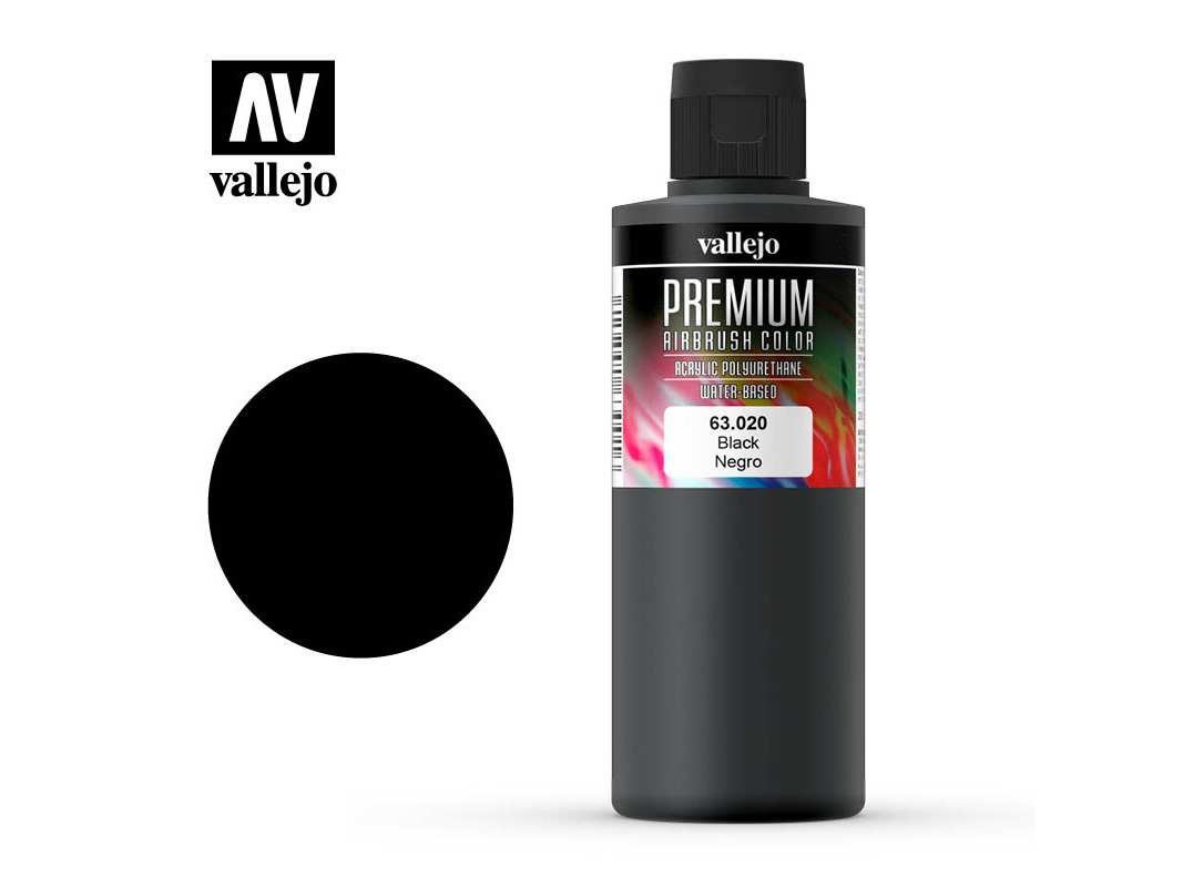 Farbe Vallejo PREMIUM Color 63020 Black (200ml)