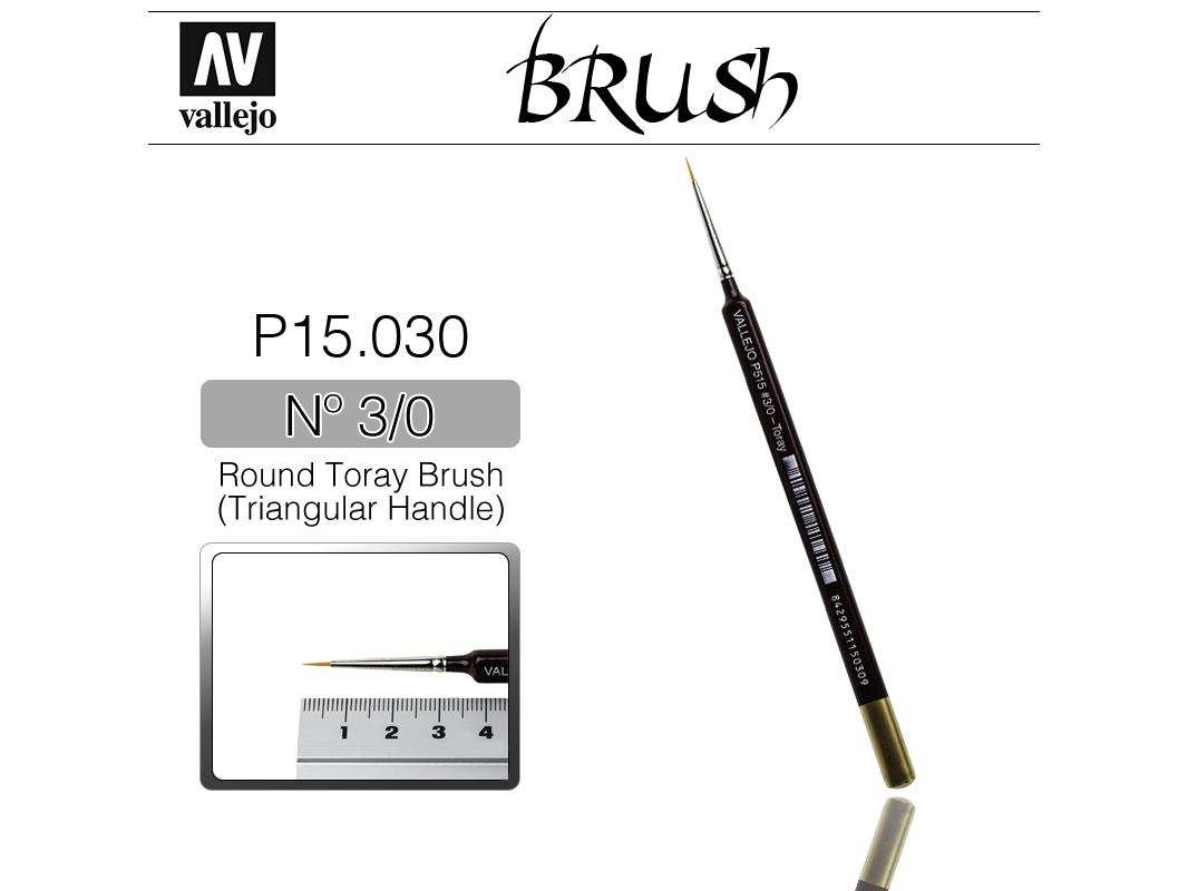 Vallejo Brush Synthetic P15030 Round Toray Brush Triangular Handle No.3/0