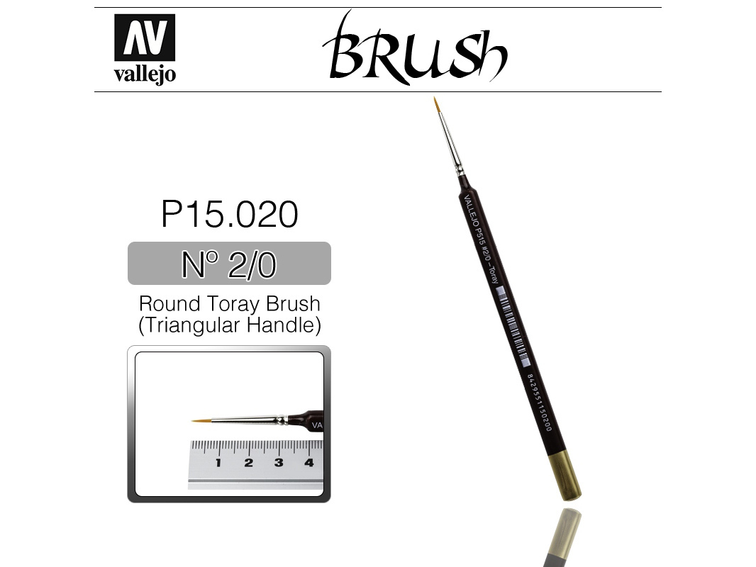 Vallejo Brush Synthetic P15020 Round Toray Brush Triangular Handle No.2/0