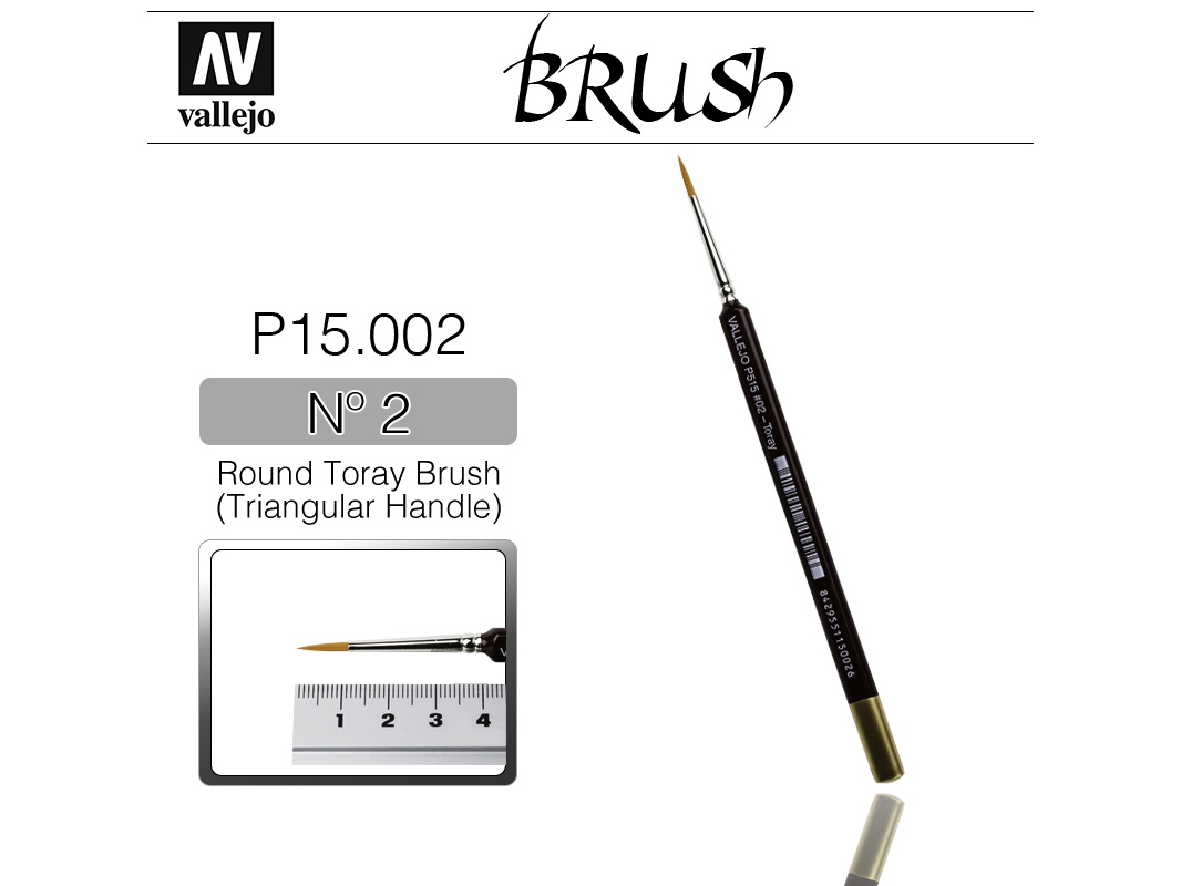 Vallejo Brush Synthetic P15002 Round Toray Brush Triangular Handle No.2