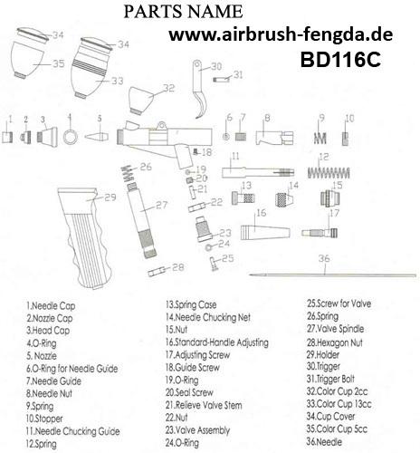 0,35 0,3 0,5 mm Airbrush Düse Ersatz Spritzpistole Wartungsteile 0,25
